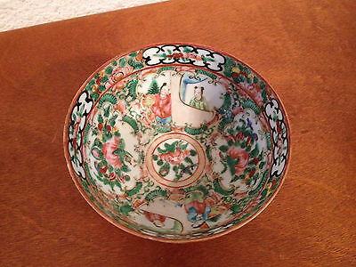 Antique Chinese Qing Dynasty / Republic Famille Rose Medallion Porcelain Bowl