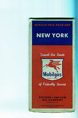 1955 Mobil New York Vintage Road Map