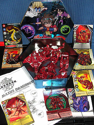 Bakugan  Maxus Dragonoid 7 n 1 Complete Instructions 8 Gate Card 1 Ability & Tin