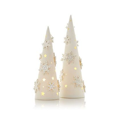Winter Lane Set of 2 Porcelain Lighted Snowflake Trees
