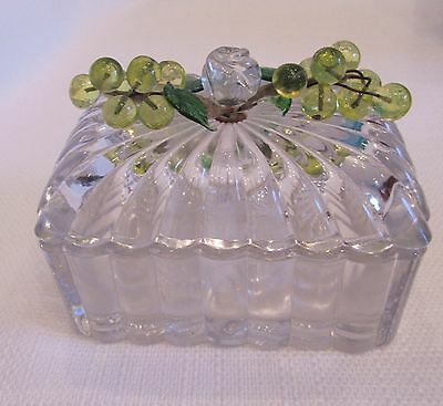 Vintage Crystal Box With Attached Vaseline Grape Clusters Rose Finial