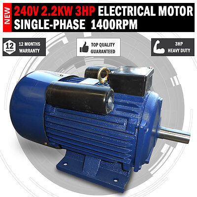 NEW 240v 2kw 3hp Electric Motor Single Phase 1400 rpm 4 pole