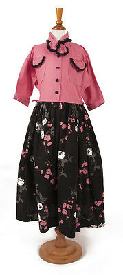 40s 'Bobby Teen' Original Bright Pink and Black Floral Dress .Size Large,Teenage