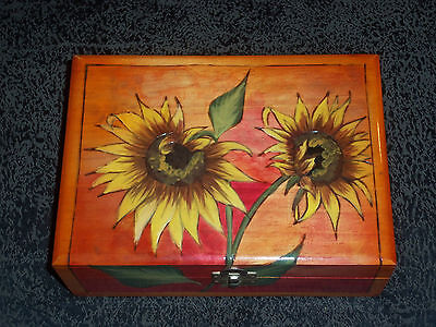 Vintage  Mexican Handpainted Wood Jewelry Box