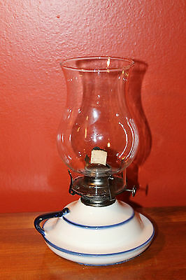 Vintage Lamplighter Farms Chamber Oil Lamp, White/Blue Pottery with Chimney