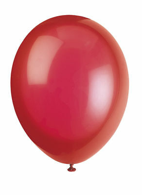 """10 Scarlet Red 12"""" Latex Balloons - Helium Quality Party/Wedding Air Fill"""