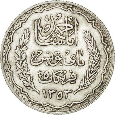 [#75169] TUNISIA, 5 Francs, 1934, Paris, KM #261, AU(55-58), Silver, 5.00