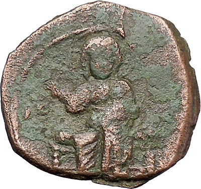JESUS CHRIST Class F Anonymous Ancient 1059AD Byzantine Follis Coin i47717