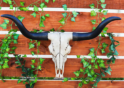 "Long Horn Bison Skull Head Bust Wall Hanging Figurine Home Decor Plaque 27""L"