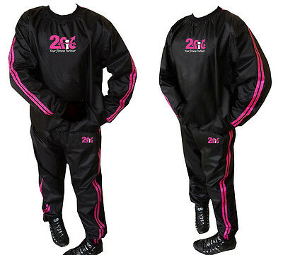 2Fit Heavy Duty Sweat Suit Sauna Gym TrackSuit Fitness Weight Loss Unisex Pink