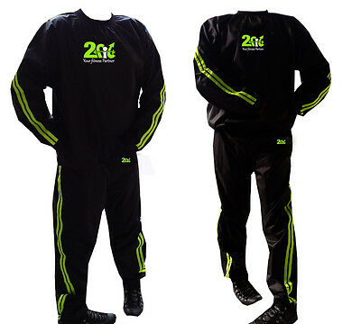 2Fit  Sweat Suit Sauna Exercise GYM TrackSuit Fitness WeightLoss Men Women Green