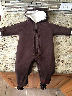 GAP Infant 3-6 months Hooded ROMPER Sweater Coat ADO(RED) WINTER BUNTING