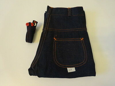 Vintage 40s 50s WW2 Suspender Side-Zip Denim Work Pants Jeans Kids 4 Deadstock