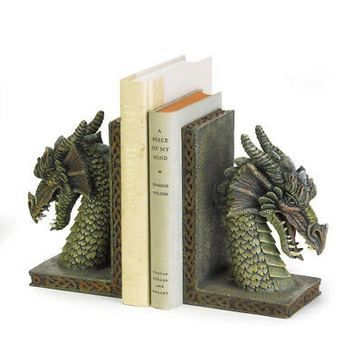 Fierce Dragon Bookends Polyresin 10-1/4""