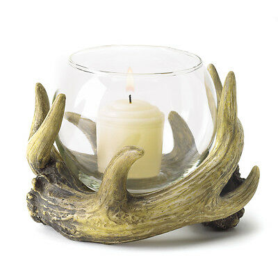 Rustic Antler Candleholder Country Cabin Hunters Lodge