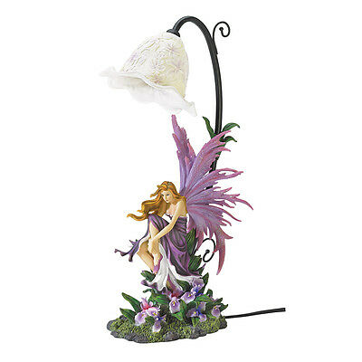 New Orchid Fantasy Winged Fairy Bell Shaped Flower Table Lamp Girl's Room Purple