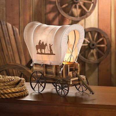 Western Wagon Lamp Table Covered Vintage Light Wood Cowboy Decor