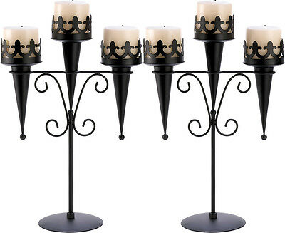 2 Gothic Black Triple Pillar Candle Holder Candelabra Stand Centerpieces~14114