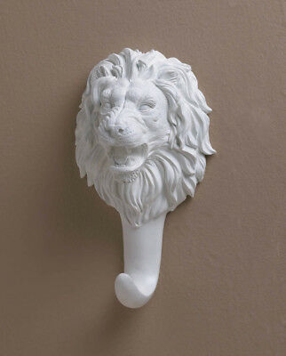 """White Lion Wall Hook Polyresin 9-3/8"""""""