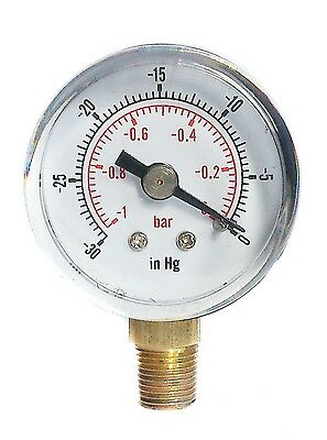 Vacuum Gauge -30*Hg & -1/0 Bar 40mm Dial 1/8 BSPT Bottom connection.