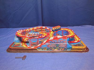 Toy  Roller Coaster  Tin & Plastic Wind Up Circa 1950,s 60's
