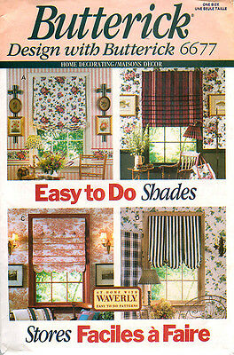 Butterick 6677 Easy To Do Shades ~ Window Treatments Sewing Pattern UnCut OOP