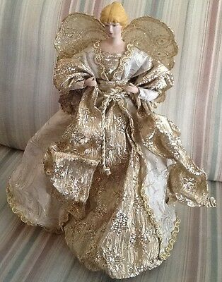 Beautiful Golden Angel Tree Topper With Porcelain Head And Hands