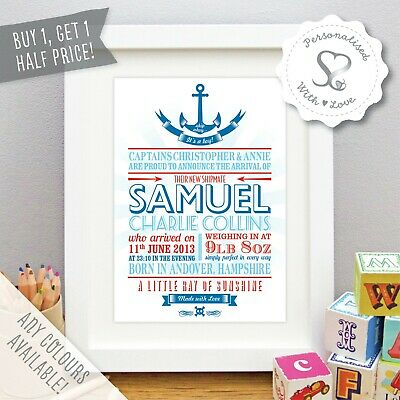 Personalised Baby Print Nautical Nursery Art New Gift Birth Details Picture