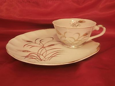 Lefton Hand Painted # 2768 N Snack Plate & Cup Golden Wheat Design