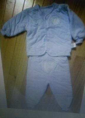 BABY BOY BLUE BUTTON FRONT PADDED WINTER 2 PIECE OUTFIT-6 TO 12 MTH-W/MITTENS