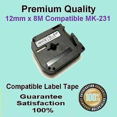 5x Compatible P-Touch Thermal Tape for Brother M-K231 Black on White 12mm x 8m
