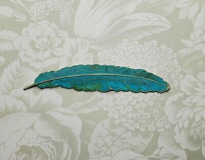Large Verdigris Patina Brass Feather Stamping (1) - VPS2997 Jewelry Finding