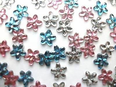 BUY ONE GET ONE FREE 90 Mini Flower Gem Embellishments Assorted Colours C0334
