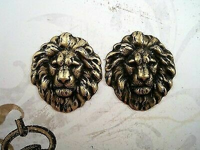 Small Oxidized Brass Plated Lion Head Stampings (2) - BOSG7857