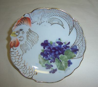 VINTAGE JAPAN SMALL DECORATIVE ROOSTER PLATE GOLD DETAIL