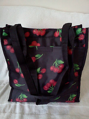 BEAUTIFULLY VIBRANT CHERRIES TOTE WITH COMPARTMENTS ON OUTSIDE