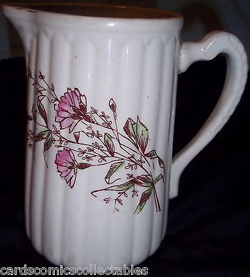 """Antique Royal Ironstone China Warranted Ribbed Pitcher 6 1/4"""""""