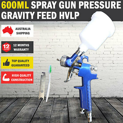 New 600ml Gravity Feed HVLP Car Spray Gun Paint Low Pressure 2 Nozzles & Nitto
