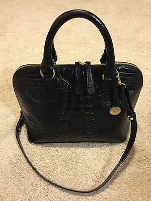 Wow! Brahmin Vivian Melbourne Black Crocodile Embossed Leather Satchel handbag