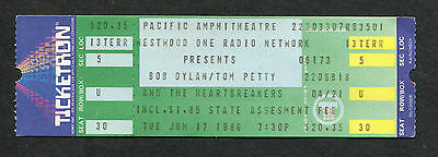Original 1986 Bob Dylan Tom Petty Heartbreakers Unused Concert Ticket Costa Mesa