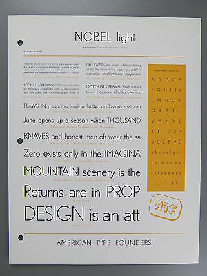 Type Specimen of Nobel Light, Typefoundry Amsterdam