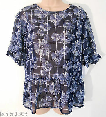 Blue Floral & Check Sheer Loose Party Blouse Top (NEW) UK Sizes 8 or 10