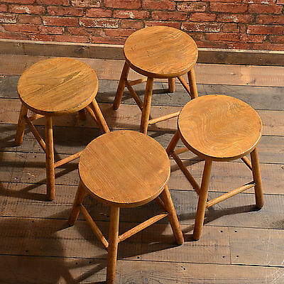 Antique Set of 4 French Country Kitchen Stools, Elm & Ash, c.1900, Seating