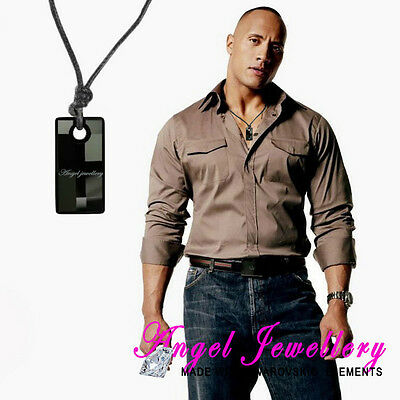Men's Necklace Dog Tag Black Swarovski Crystal Pendant Adjustable Leather