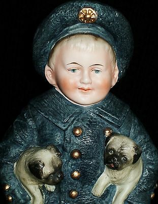 Antique German HERTWIG VICTORIAN BOY WITH PUG DOGS PIANO BABY Bisque Figurine