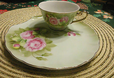 True Vintage ~ Lefton Green Heritage ~ One Plate and Cup ~ Snack Set