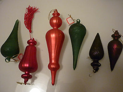 Vintage Set of 6 Christmas Tree Ornament Figural - Hand Blown Glass