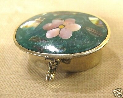 Vintage ALPACA Mexico hinged trinket box Abalone & Mother of pearl shell insert