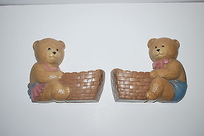 2 - 1989 Burwood Products - bears with baskets - wall hangings - NICE!!!