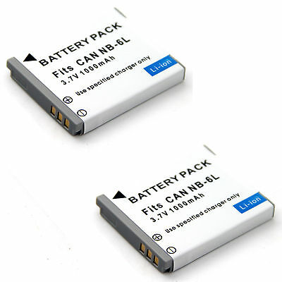 2x Battery For NB-6L Canon PowerShot SD770 IS SD980 IS SD1200 IS Digital ELPH